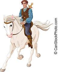 príncipe charming, equitación, un, caballo