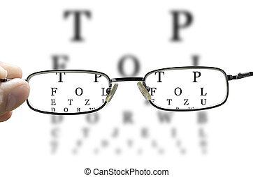 pr�fung, auge, horizontal, durch, brille