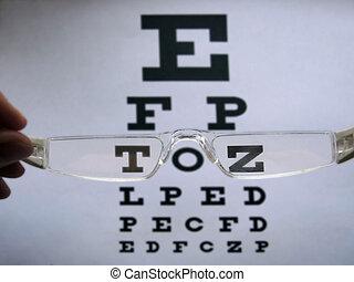 pr�fung, beäugen diagramm, brille