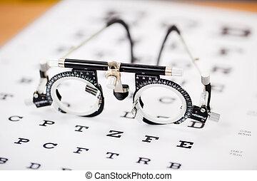 pr�fung, beäugen diagramm, snellen, brille