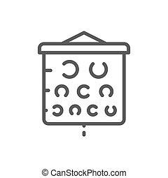 pr�fung, linie, icon., vision, tabelle