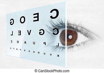 pr�fung, optiker, auge
