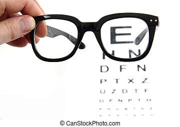 pr�fung, schwarzes auge, tabelle, brille