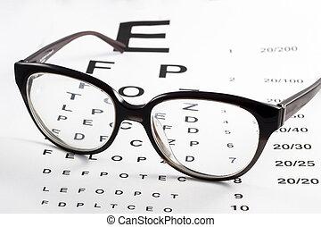 pr�fung, sehvermögen, beäugen diagramm, brille