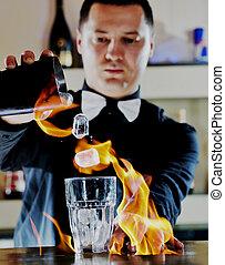 pró, barman, preparar, coctail, bebida, ligado, partido