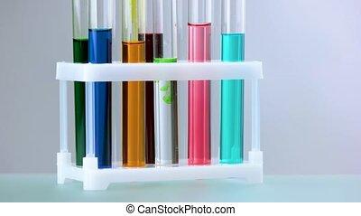 próba, chemikalia, balie, wypełniony, lab.