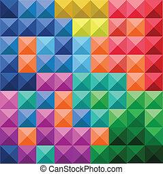 próbka, abstrakcyjny, kwadraty, barwny