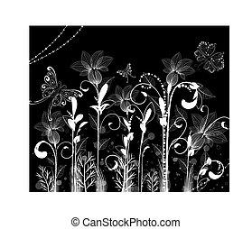 próbka, abstrakcyjny, kwiaty