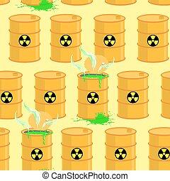 próbka, acid., biohazard., dump., baryłki, chemiczny, seamless, tło, tracić, wektor, żółta zieleń