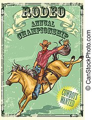 próbka, afisz, rodeo, text.