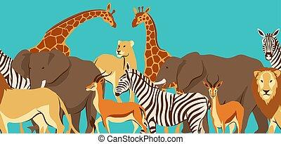 próbka, afrykanin, sawanna, seamless, animals.