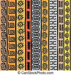 próbka, afrykanin, seamless, motywy, etniczny