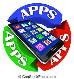 próbka, apps, telefon, projektować, strzała, mądry, okólnik