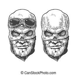 próbka, bandana, czaszka, ludzki