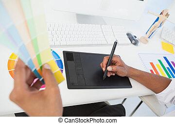 próbka, biurko, digitizer, barwa, używając, pracujący, projektant