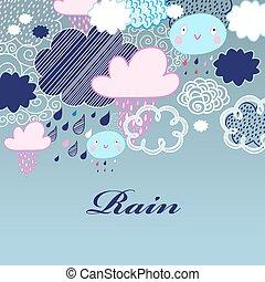 próbka, chmury, deszcz