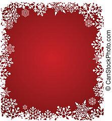 próbka, czerwony, płatki śniegu, tło, boże narodzenie