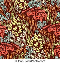próbka, doodle, seamless, kwiatowy