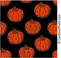 próbka, dynie, halloween, seamless