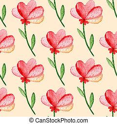 próbka, hand-drawn, seamless, akwarela, flowers., tło, czerwony