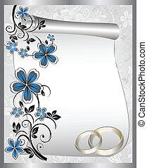 próbka, karta, ślub, kwiatowy