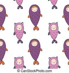próbka, kitten., dziewczyna, fish., seamless, syrena, sprytny, magia, piękny