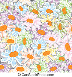 próbka, kwiat, tatuś, camomile, seamless