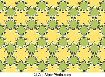 próbka, kwiaty, ozdoba, zielony, żółty