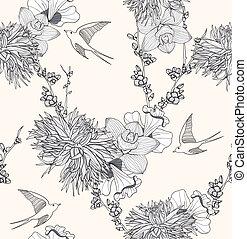 próbka, kwiaty, seamless, ptaszki
