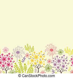 próbka, kwitnąc, seamless, drzewa, tło, poziomy, brzeg