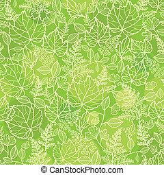 próbka, liście, seamless, struktura, zielone tło, lineart