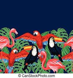 próbka, liście, seamless, tropikalny, dłoń, ptaszki