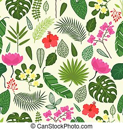 próbka, liście, seamless, tropikalny, flowers., rośliny