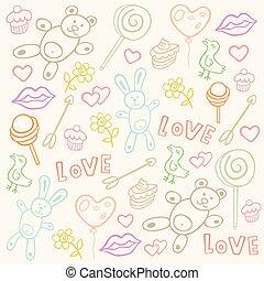 próbka, miłość, seamless, doodles