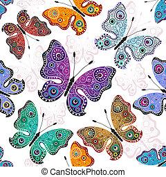 próbka, motyle, biały, seamless