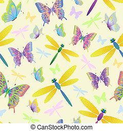 próbka, motyle, seamless, dragonflies