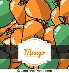 próbka, owoc, etykieta, mangowiec, zachwycający, świeży