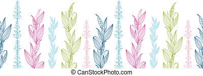 próbka, pasy, seamless, tło, kwiatowy, poziomy, brzeg