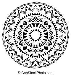 próbka, plemienny, lud, aztek, geometryczny