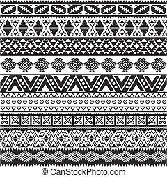 próbka, plemienny, -, seamless, aztek, czarne tło, biały