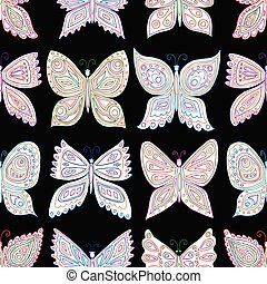 próbka, różny, dekoracyjny, seamless, motyle