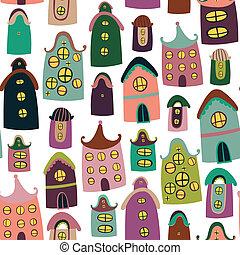 próbka, rysunek, seamless, barwny, domy