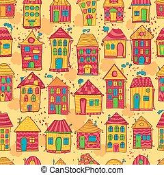 próbka, seamless, barwny, domy