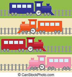 próbka, seamless, barwny, pociągi