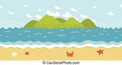 próbka, seamless, brzeg, wektor, plaża, krajobraz