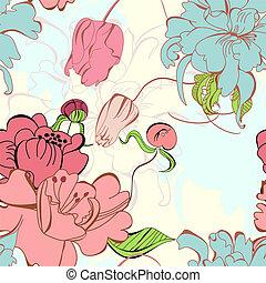 próbka, seamless, kwiatowy