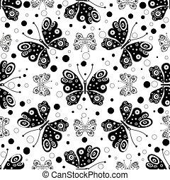 próbka, seamless, motyle, czarnoskóry, symetryczny, biały