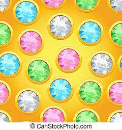 próbka, seamless, okrągły, jewels.