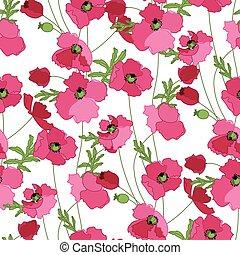 próbka, seamless, stylizowany, maki, kwiatowy, czerwony
