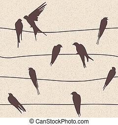 próbka, seamless, wektor, ptaszki